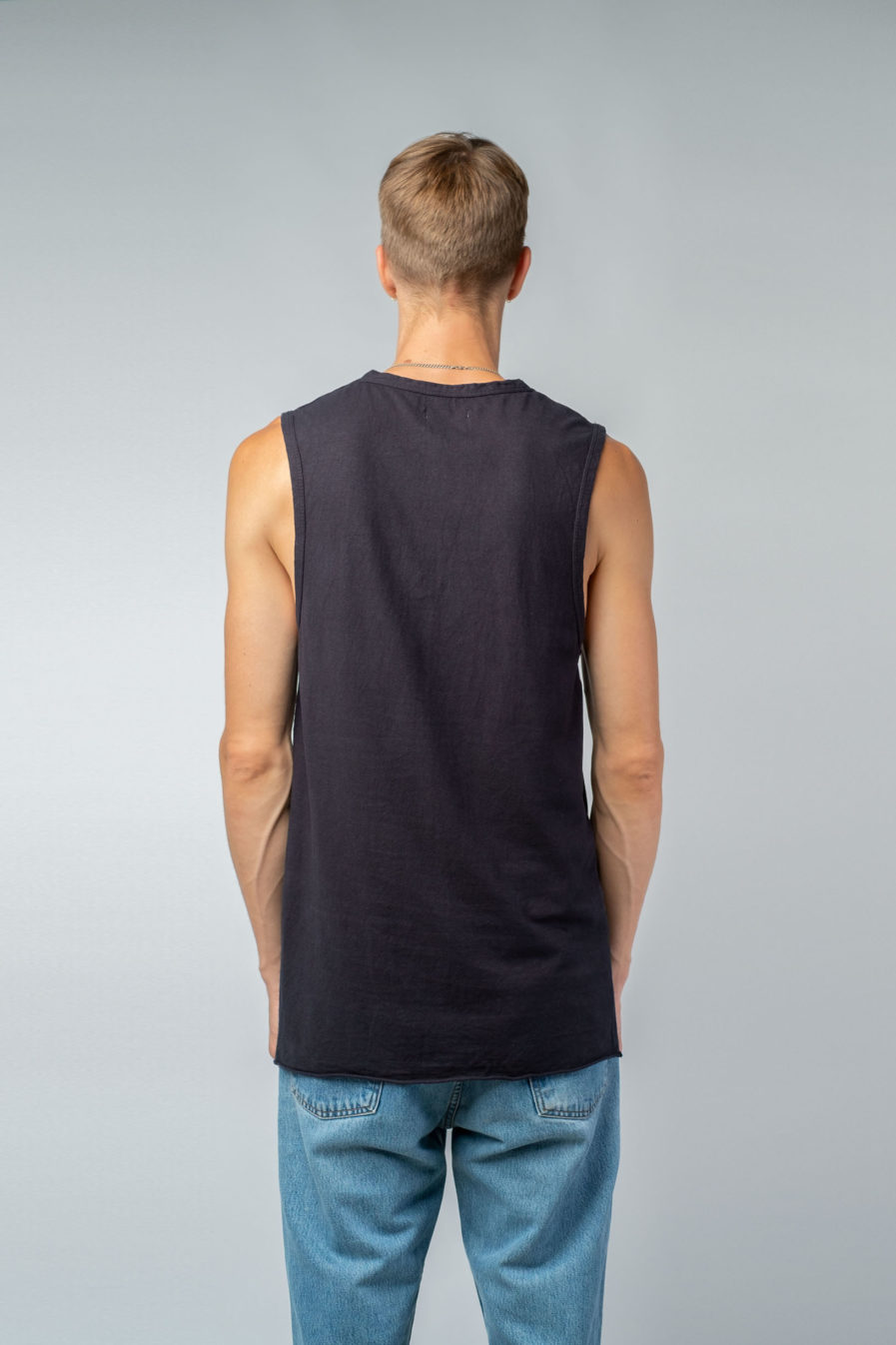 MAN unisex singlet tanktop hemp organic cotton DRIES Carbon black back