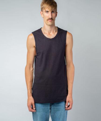 MAN unisex singlet tanktop hemp organic cotton DRIES Carbon black front