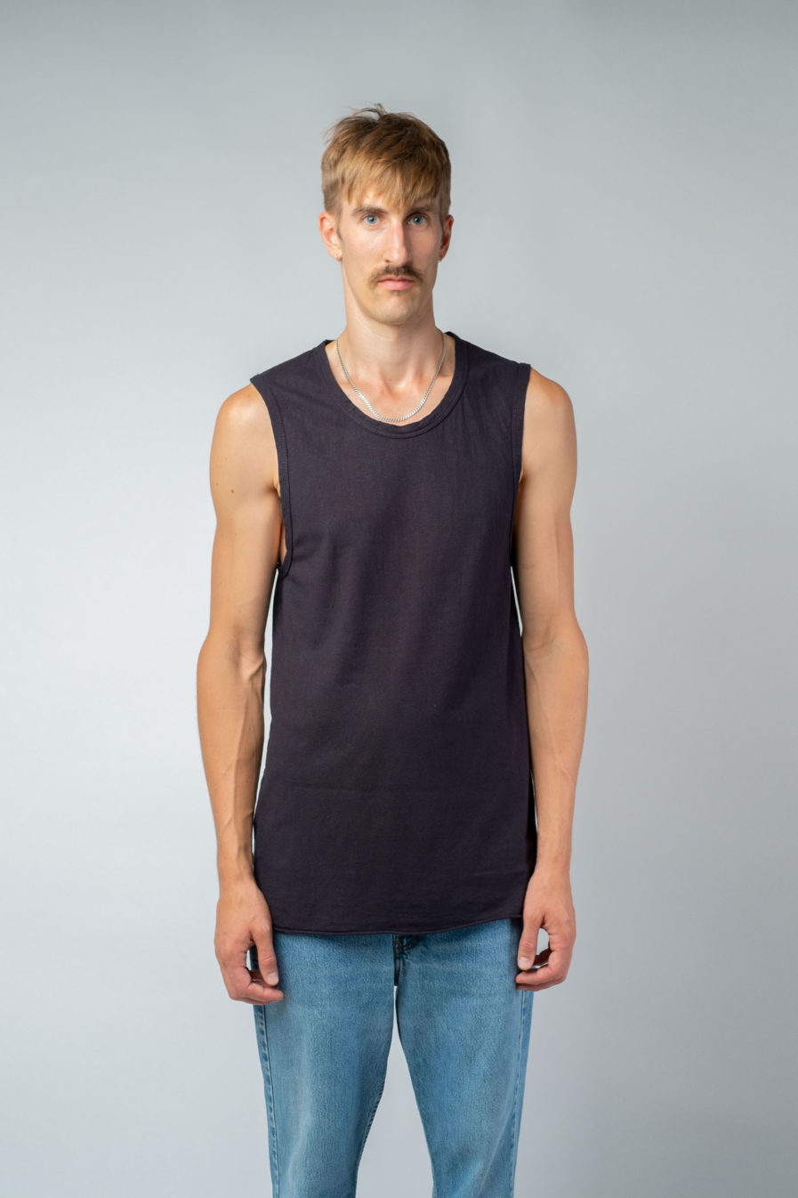 MAN unisex singlet tanktop hemp organic cotton DRIES Carbon black front