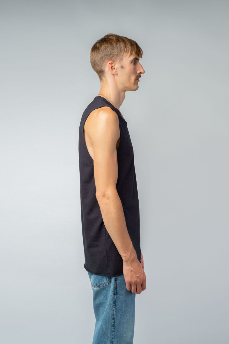 MAN unisex singlet tanktop hemp organic cotton DRIES Carbon black side