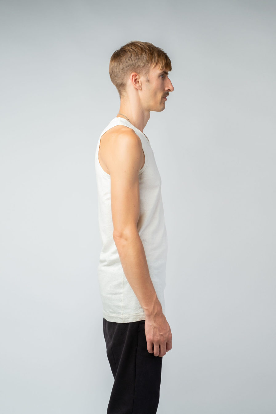 MAN unisex singlet tanktop hemp organic cotton FRANS Blank canvas side