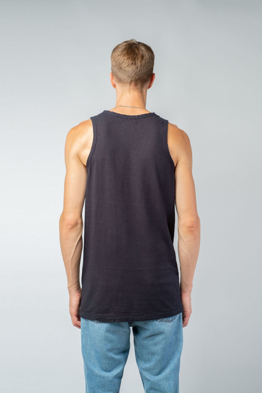 MAN unisex singlet tanktop hemp organic cotton FRANS Carbon black back