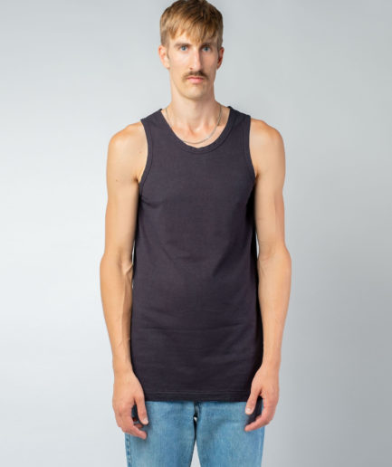 MAN unisex singlet tanktop hemp organic cotton FRANS Carbon black front