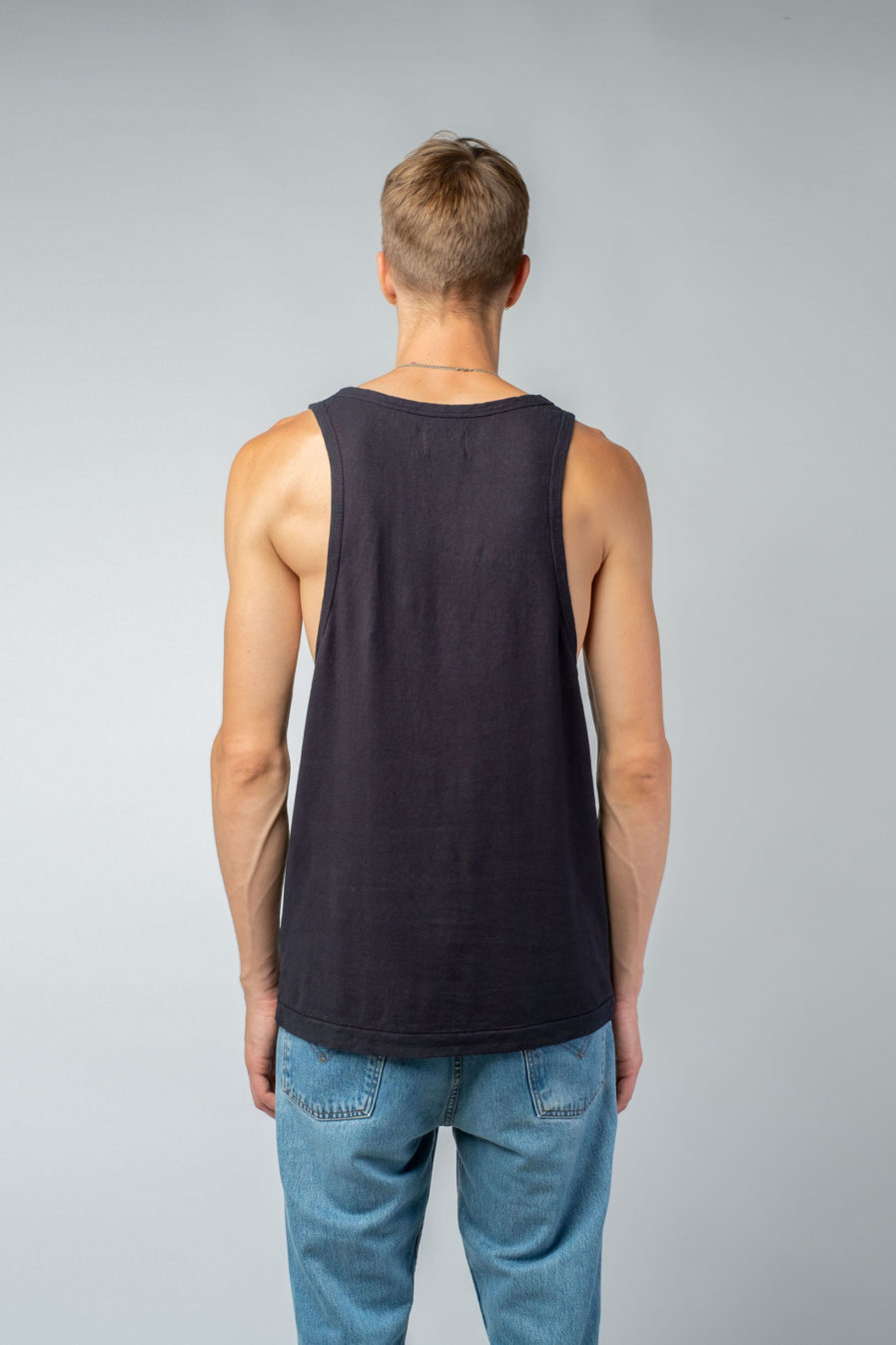 MAN unisex singlet tanktop hemp organic cotton LAU Carbon black back