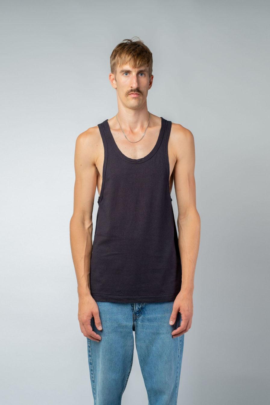 MAN unisex singlet tanktop hemp organic cotton LAU Carbon black front