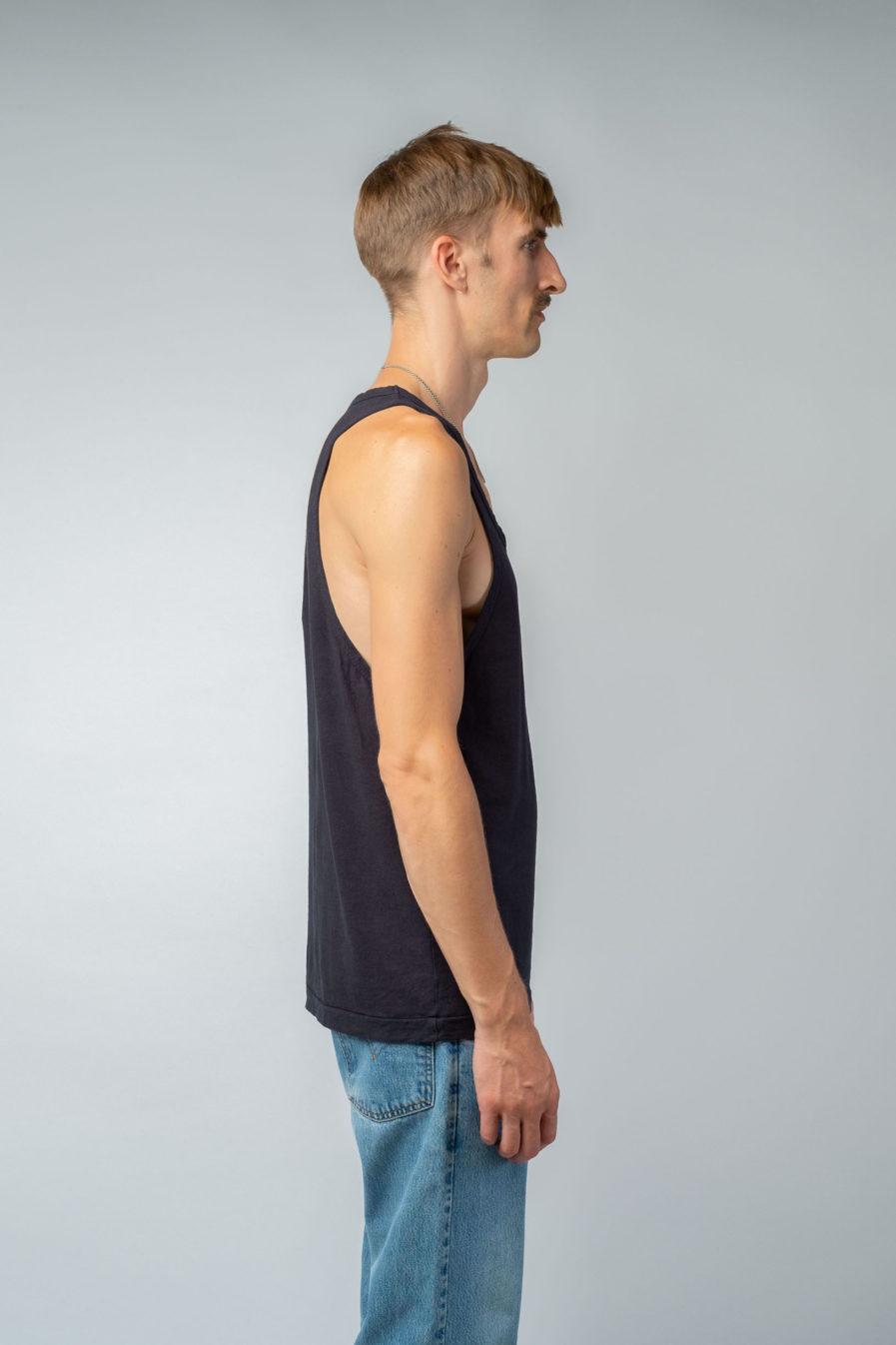 MAN unisex singlet tanktop hemp organic cotton LAU Carbon black side