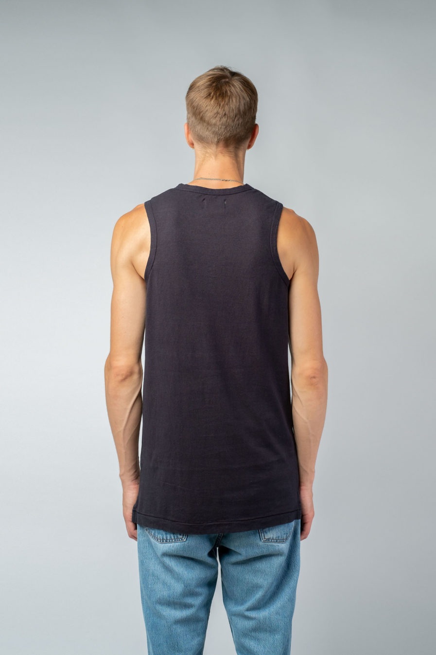 MAN unisex singlet tanktop hemp organic cotton MALIK Carbon black back