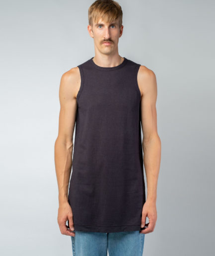 MAN unisex singlet tanktop hemp organic cotton MALIK Carbon black front