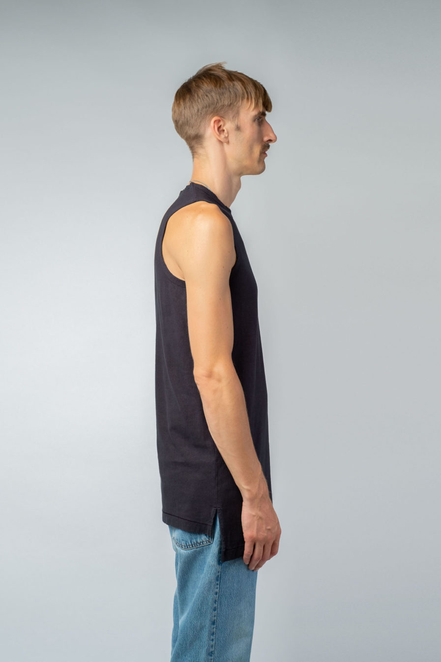 MAN unisex singlet tanktop hemp organic cotton MALIK Carbon black side