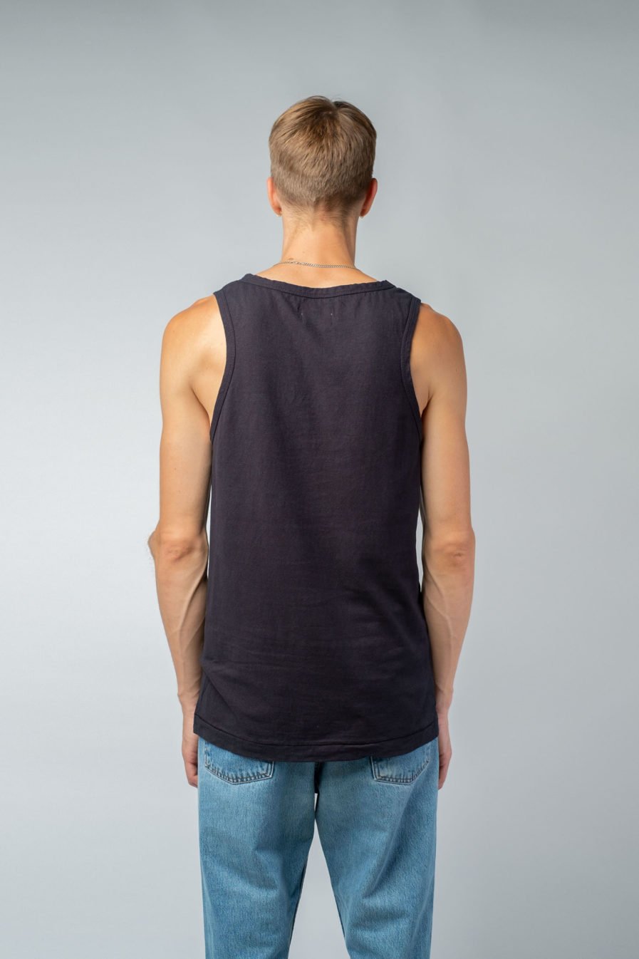 MAN unisex singlet tanktop hemp organic cotton SONNY Carbon black back