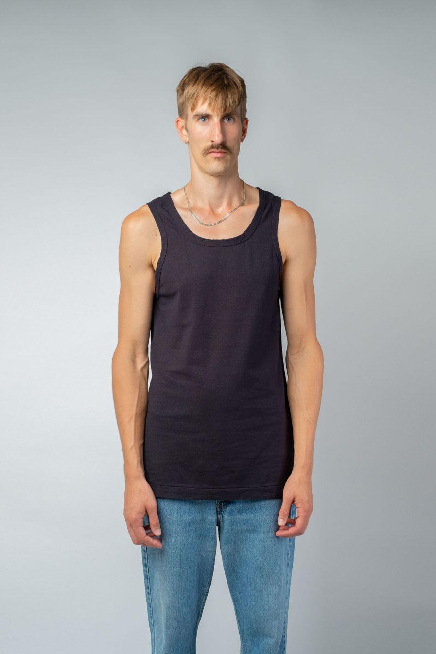 MAN unisex singlet tanktop hemp organic cotton SONNY Carbon black front