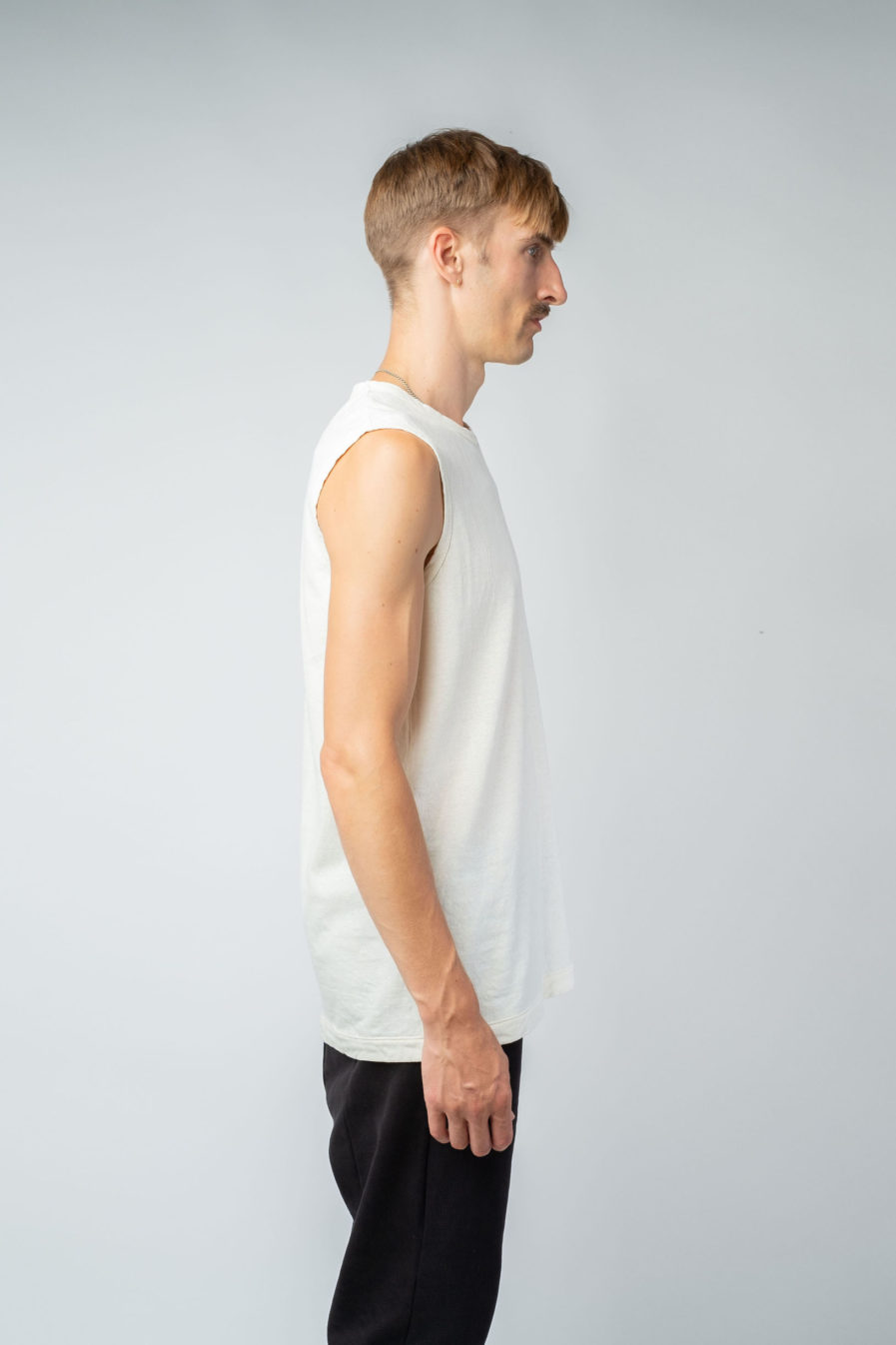 MAN unisex singlet tanktop hemp organic cotton VALENTIJN Blank canvas side