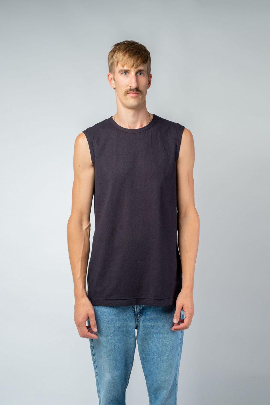 MAN unisex singlet tanktop hemp organic cotton VALENTIJN Carbon black front
