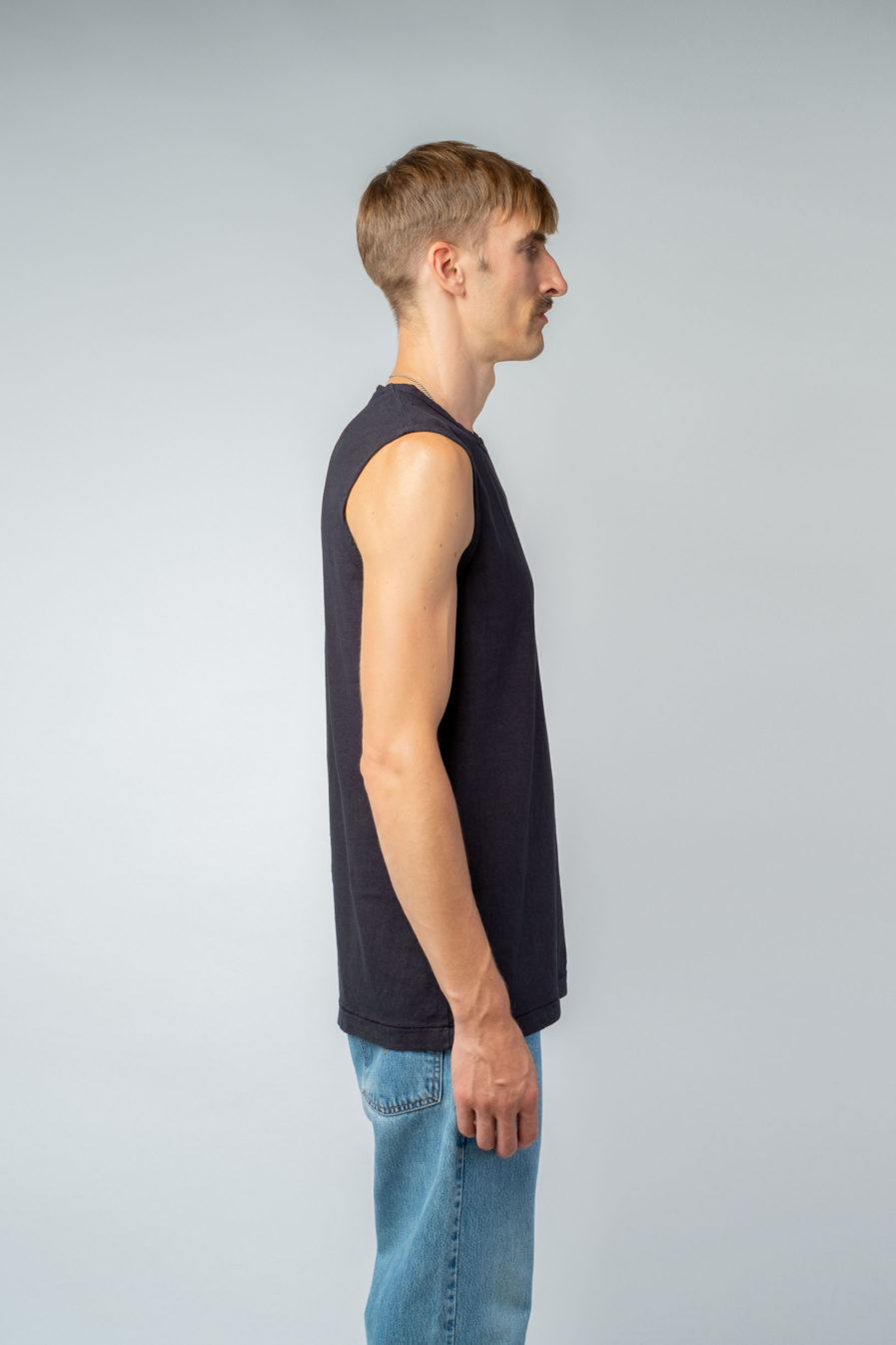 MAN unisex singlet tanktop hemp organic cotton VALENTIJN Carbon black side
