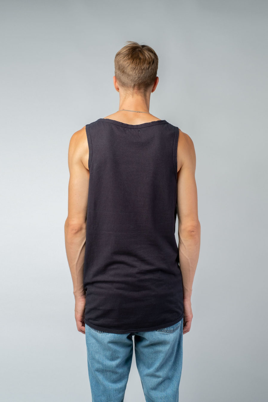 MAN unisex singlet tanktop hemp organic cotton WILLIE Carbon black back