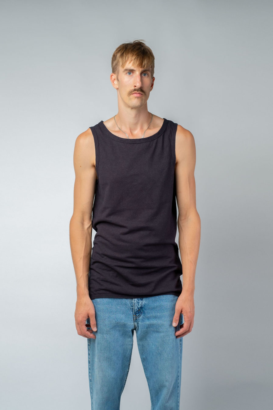 MAN unisex singlet tanktop hemp organic cotton WILLIE Carbon black front