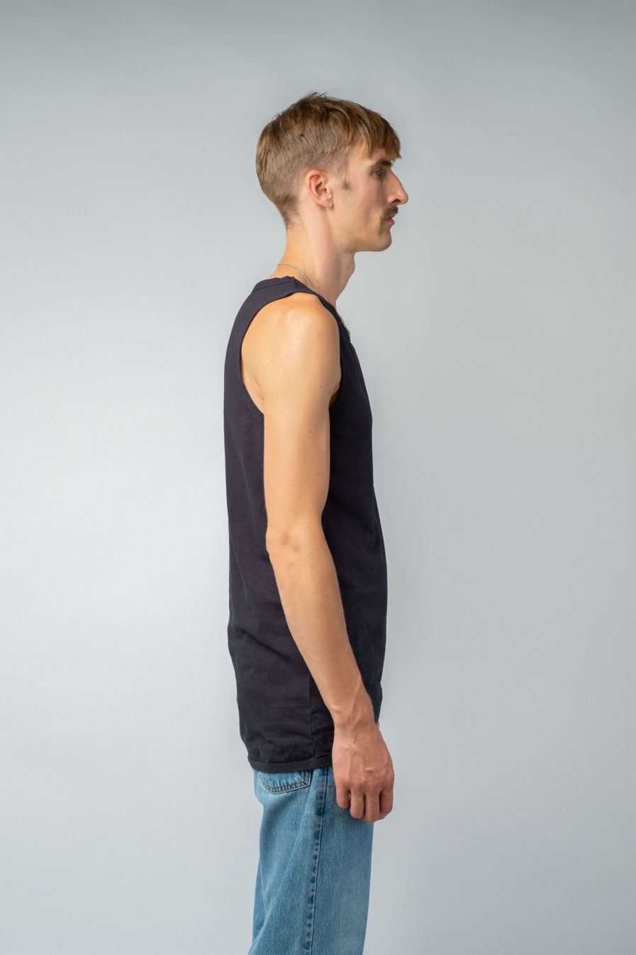 MAN unisex singlet tanktop hemp organic cotton WILLIE Carbon black side