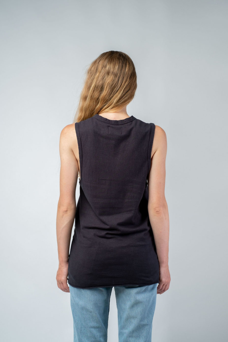 WOMAN unisex singlet tanktop hemp organic cotton DRIES Carbon black back