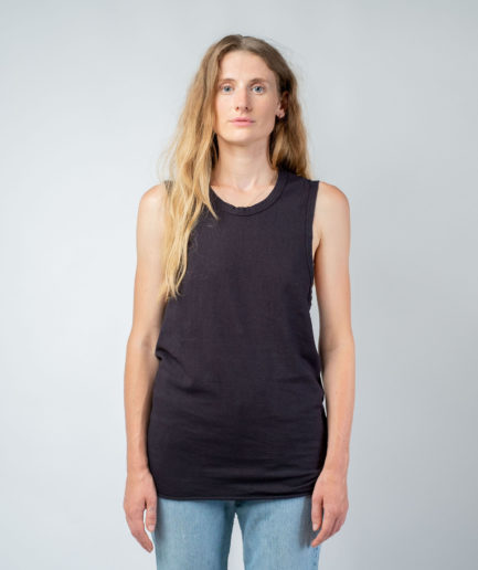 WOMAN unisex singlet tanktop hemp organic cotton DRIES Carbon black front