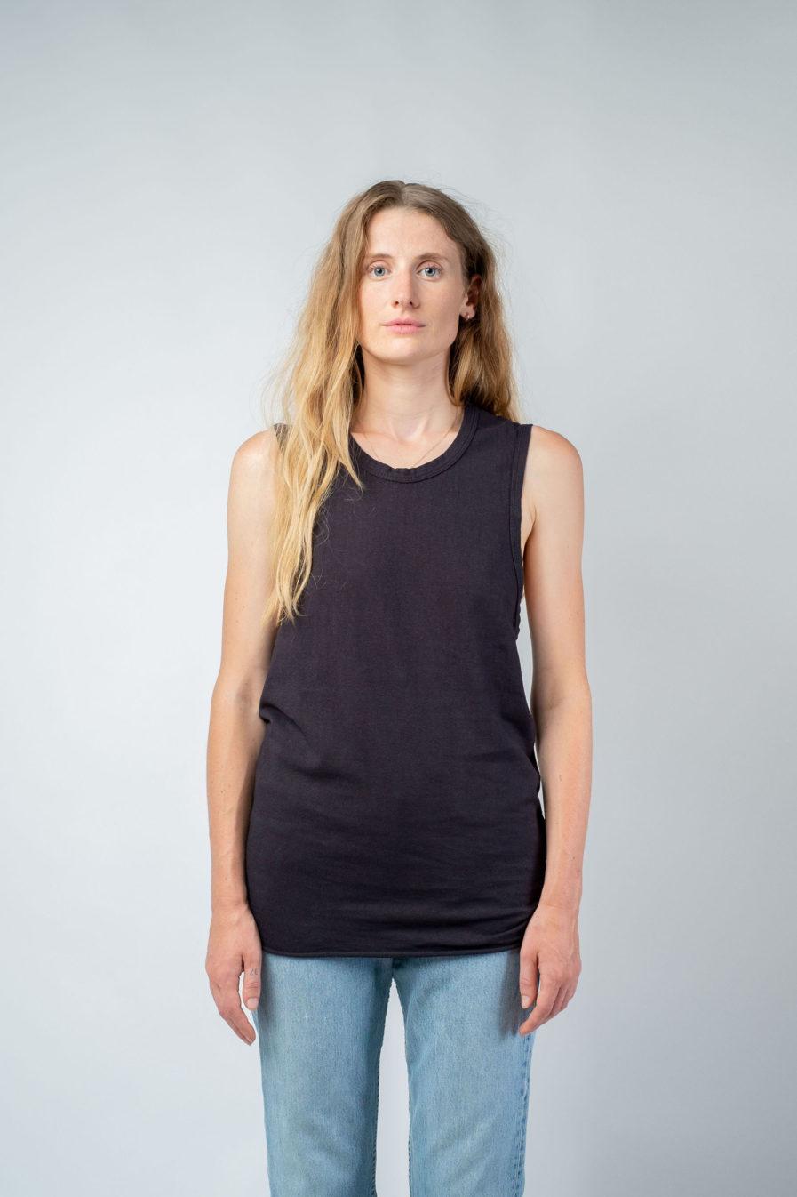WOMAN unisex singlet tanktop hemp organic cotton DRIES Carbon black front