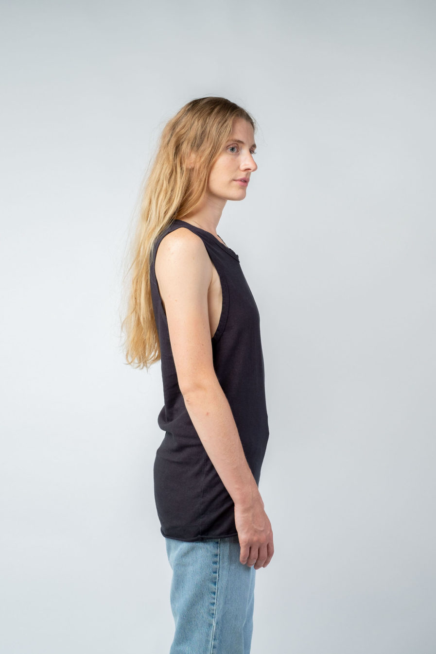 WOMAN unisex singlet tanktop hemp organic cotton DRIES Carbon black side