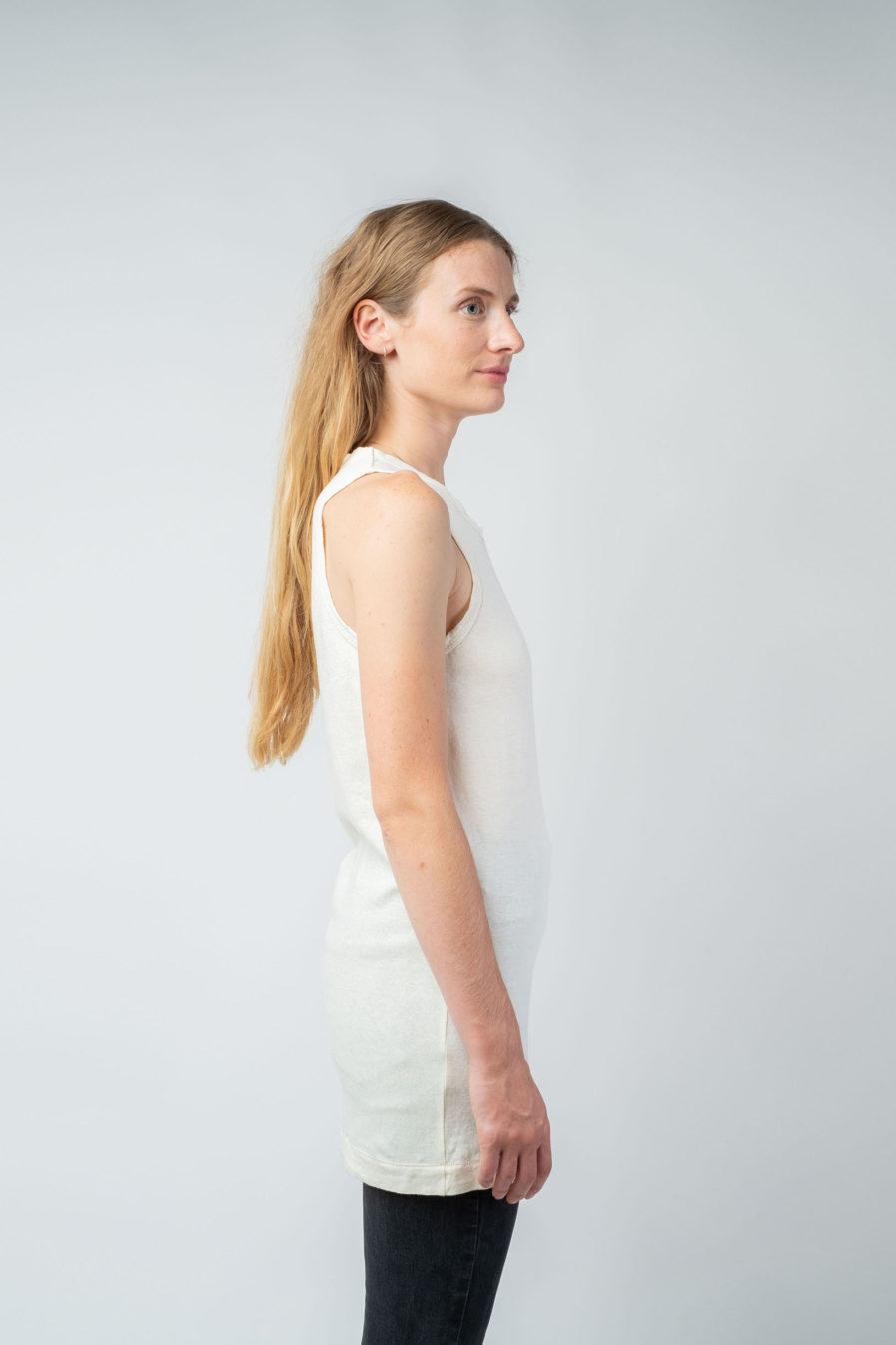 WOMAN unisex singlet tanktop hemp organic cotton FRANS Blank canvas side