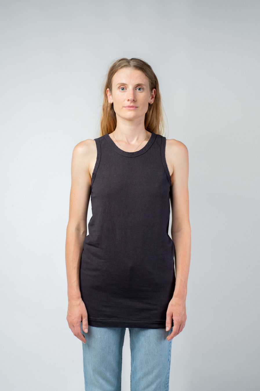 WOMAN unisex singlet tanktop hemp organic cotton FRANS Carbon black front