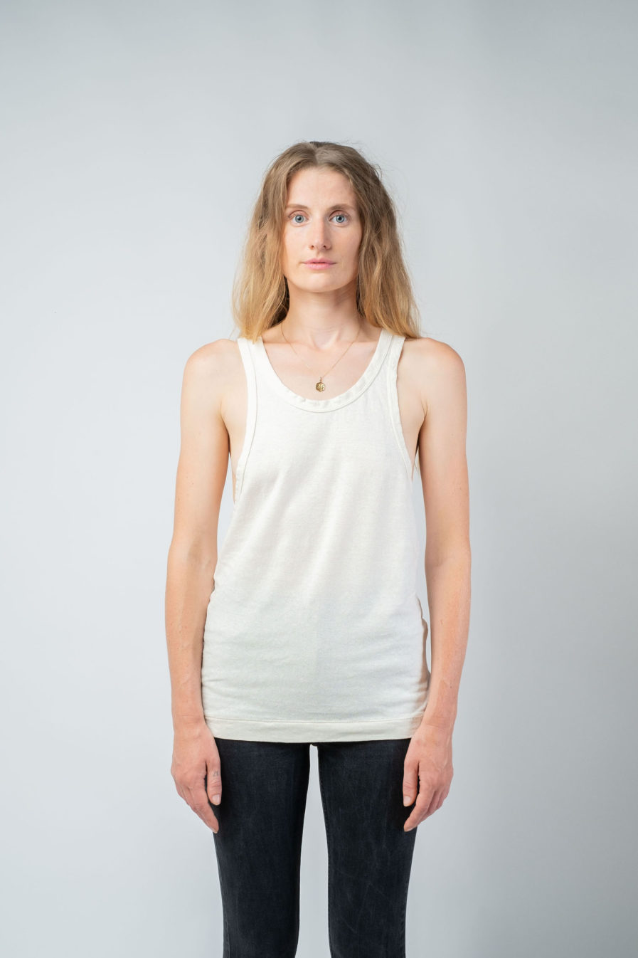 WOMAN unisex singlet tanktop hemp organic cotton LAU Blank canvas front