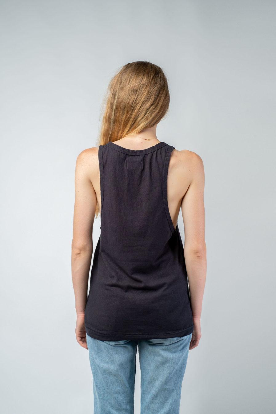 WOMAN unisex singlet tanktop hemp organic cotton LAU Carbon black back