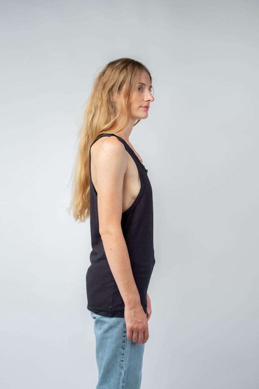 WOMAN unisex singlet tanktop hemp organic cotton LAU Carbon black side