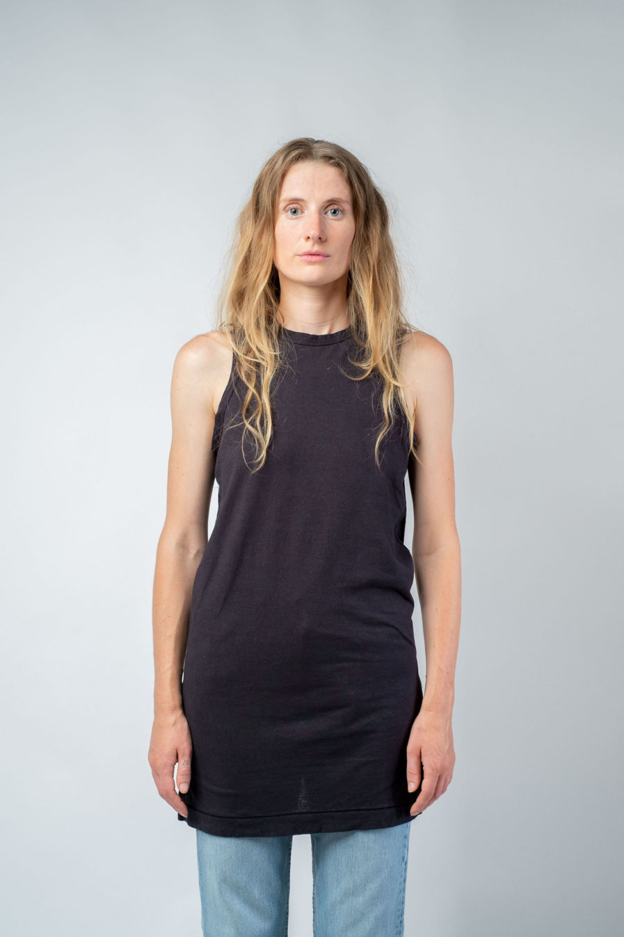 WOMAN unisex singlet tanktop hemp organic cotton MALIK Carbon black front