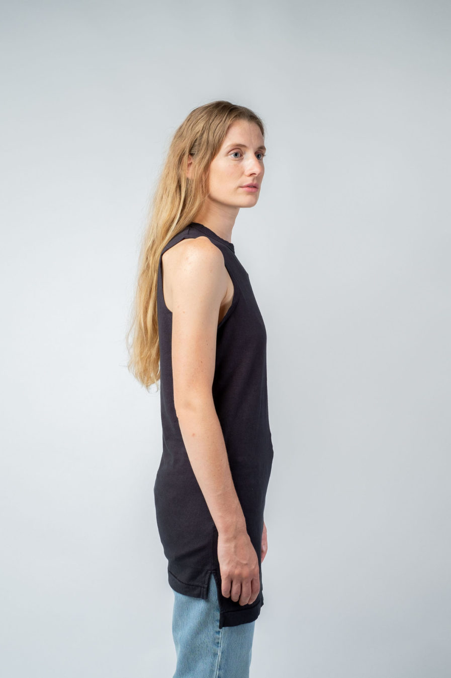 WOMAN unisex singlet tanktop hemp organic cotton MALIK Carbon black side