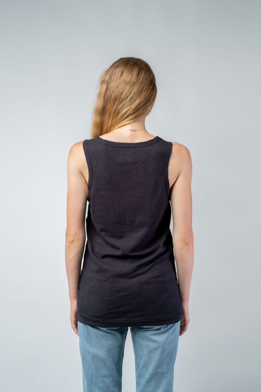 WOMAN unisex singlet tanktop hemp organic cotton SONNY Carbon black back