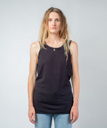 WOMAN unisex singlet tanktop hemp organic cotton SONNY Carbon black front