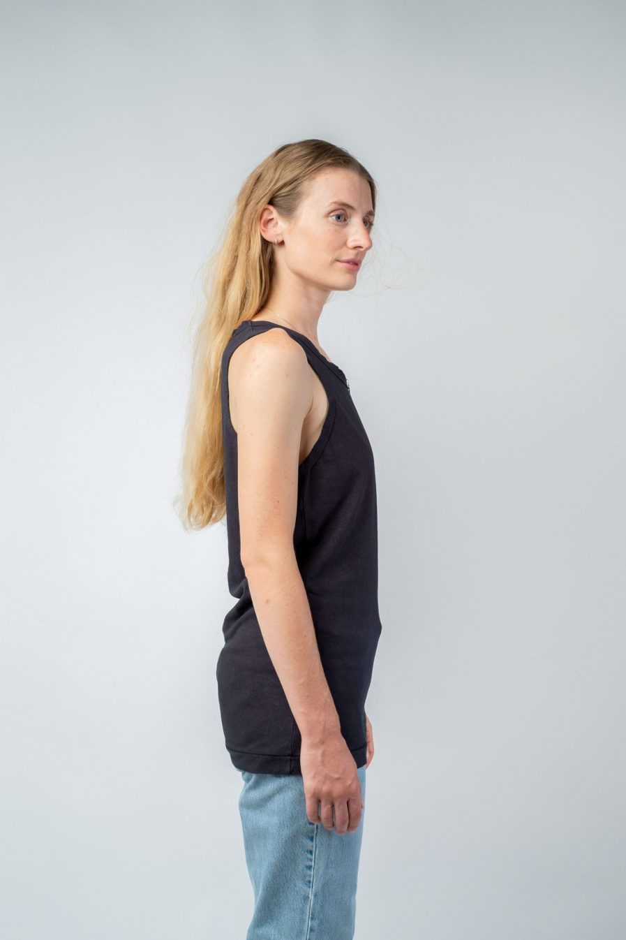 WOMAN unisex singlet tanktop hemp organic cotton SONNY Carbon black side