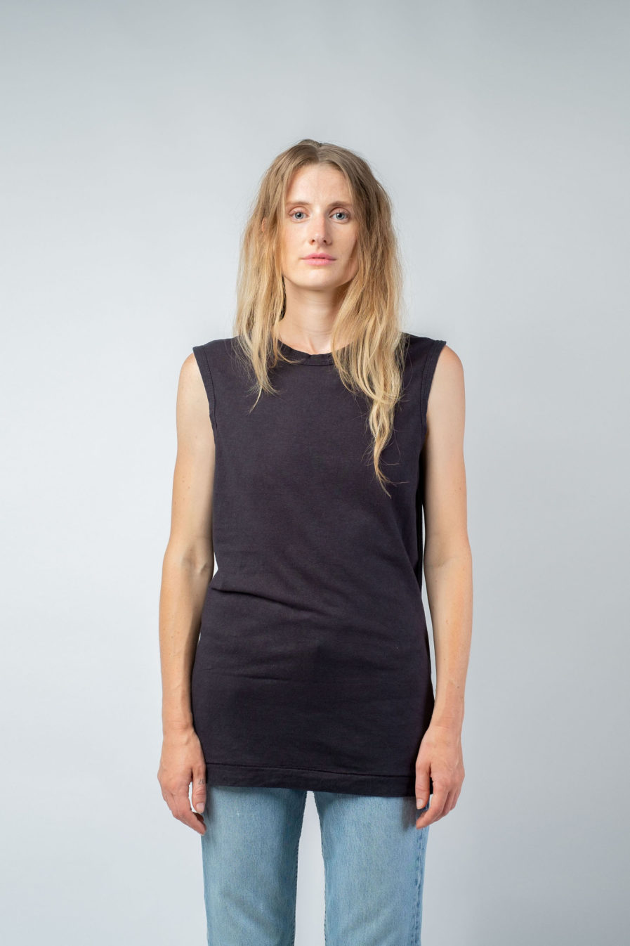 WOMAN unisex singlet tanktop hemp organic cotton VALENTIJN Carbon black front