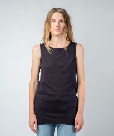 WOMAN unisex singlet tanktop hemp organic cotton WILLIE Carbon black front
